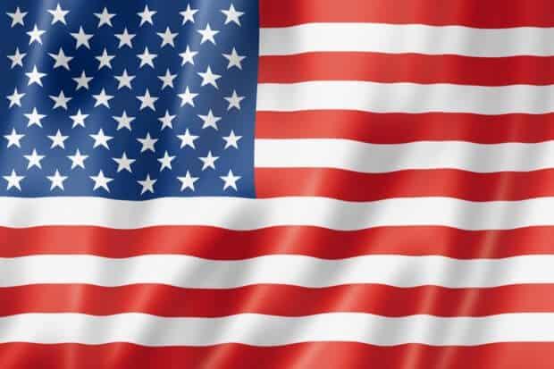 USA flag, three dimensional render, satin texture